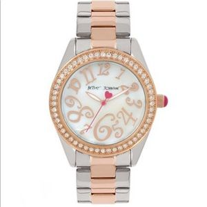 Betsey Johnson Two Toned/Crystal Bezel Watch
